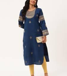 Navy-blue woven silk party-wear-kurtis