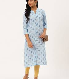 Light-blue printed rayon party-wear-kurtis