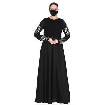 Mushkiya-Designer Dress In Abaya Fit With Embroidery.