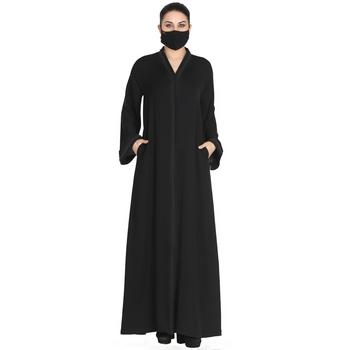 Mushkiya-Front Open Abaya Made In Korean Nida With Lacework.
