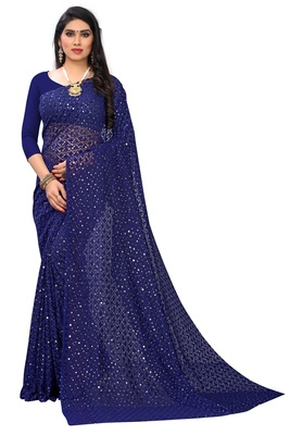 Self Design Brasso Lycra Blend Embroidered Saree with blouse