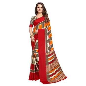 Traditional paisley printed crepe material saree with ethnic prints