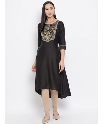 Span Grey Embroidered A-line Kurta