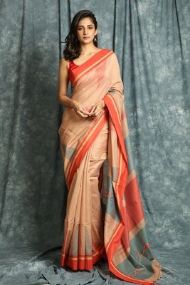 Salmon woven bengal handloom saree with blouse