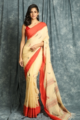 Beige woven bengal handloom saree with blouse