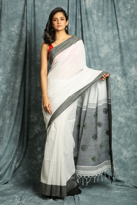 White woven bengal handloom saree with blouse