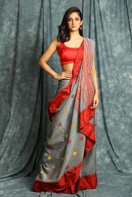 Grey woven bengal handloom saree with blouse
