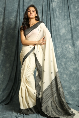 Off white woven bengal handloom saree with blouse