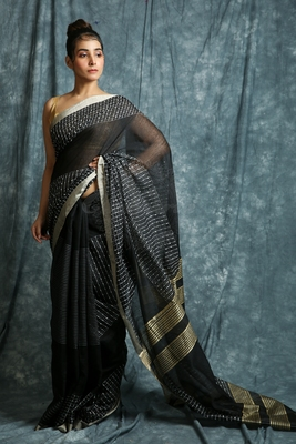 Black woven bengal handloom saree with blouse