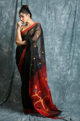 Black woven bengal handloom saree with blouse