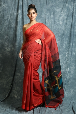 Red woven bengal handloom saree with blouse