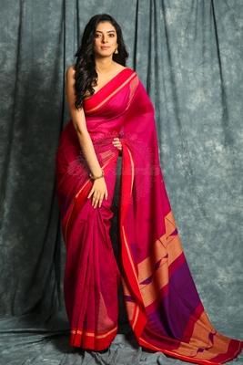 Dark pink woven bengal handloom saree with blouse