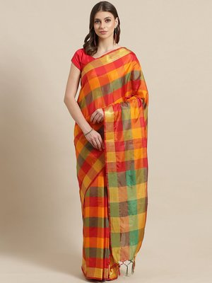 Red woven art silk saree with blouse