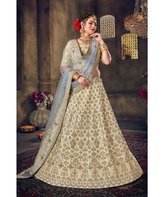 Embroidered Silk Lehenga Choli With Net Dupatta With Unstiched Blouse
