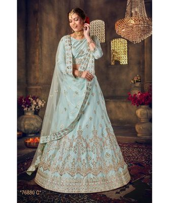 Embroidered Silk Gotta Patti Lehenga Choli With Net Dupatta With Unstiched Blouse