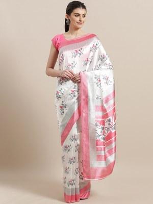 White printed art silk saree with blouse