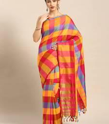 Yellow woven uppada silk saree with blouse