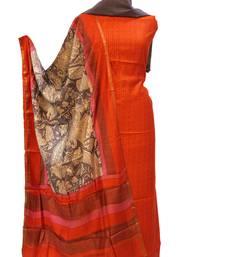 Orange Grey Maheswari Silk Unstitched Suit