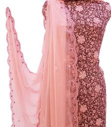 Windsor Wine Peach Georgette Unstiched Suit
