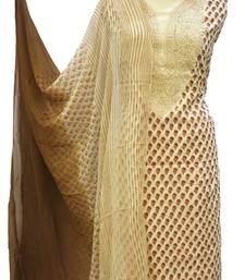 Beige Brown Cotton Chikankari Block Print Unstitched Suit
