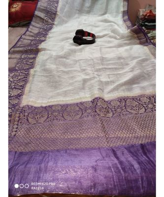 white Handcrafted Banarsi Silk Linen Saree with contrast border