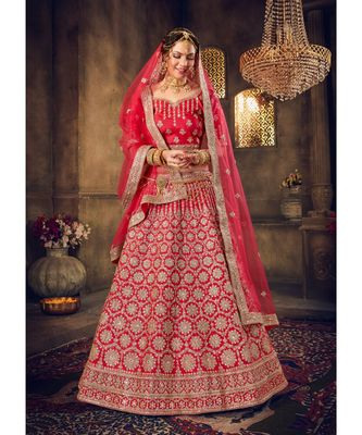 Embroidered Silk Bridal Lehenga Choli With Net Dupatta With Unstiched Blouse & Heavy Zarkan Work