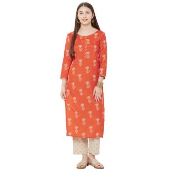 Os by Fourbuttons Womens Viscose Silk Orange Kurta Set