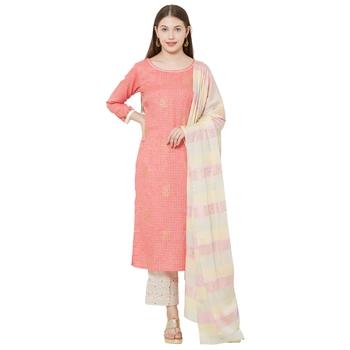 Os by Fourbuttons Womens Pure Cotton Pink Kurta Set