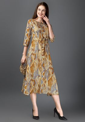 Women Multicolor Printed Rayon A-line Dress