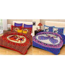 ridan cotton multicolour combo of printed bed sheet with pillow covers