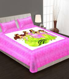 Ridan cotton multicolour cartoon print double bed sheet with pillow cover