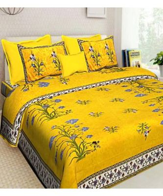 Ridan cotton multicolour  printed double bed sheet with pillow cover