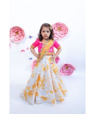 White Sequence Lehenga with Hot Pink choli and Dupatta