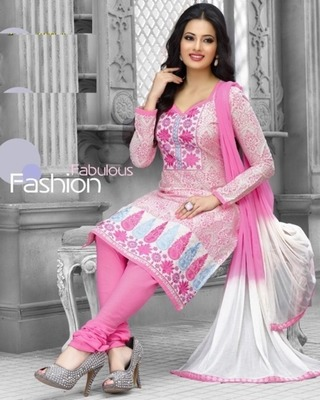 3813907a88 Radiant Cotton Embroidered Salwar Suit Dress Material With Chiffon Dupatta