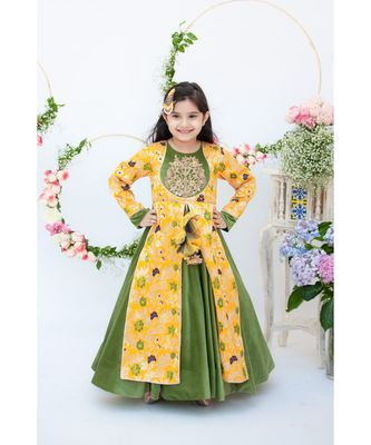 Yellow Brocade and Velvet Anarkali