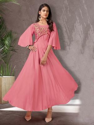 Pink embroidered rayon long-kurtis