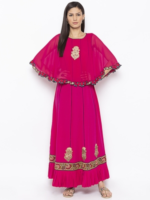 Pink embroidered crepe party-wear-kurtis