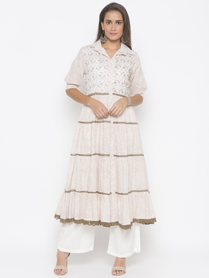 Cream printed cotton party-wear-kurtis