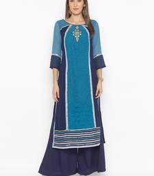 Dark-blue embroidered georgette party-wear-kurtis