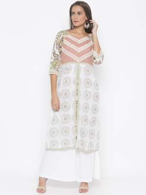 Cream printed cotton party-wear-kurtis