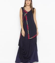 Dark-navy-blue embroidered cotton party-wear-kurtis