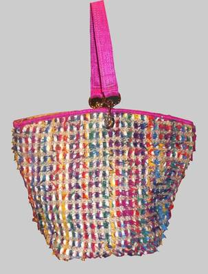Pink Tote Enhanced With Multi Coloured Yarn