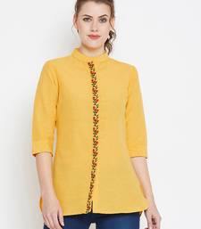 Mustard embroidered cotton tunics