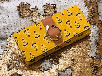 Yellow Colored Handblock Printed Comfy Wallet