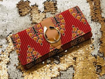 Red Colored Handblock Printed Designer Comfy Wallet