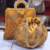 Yellow Colored Sequin Worked Pearl Chained Potli Bag With Handbag