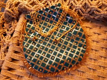 Sky Blue Colored Sequin Worked Pearl Chained Potli Bag
