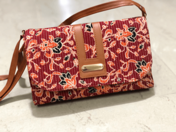 Red Colored Handblock Printed Sling Bag With Belt