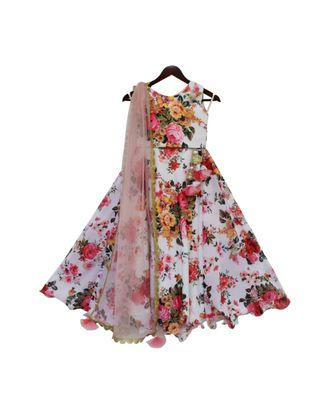 White Floral Printed Lehenga Choli with Pink Dupatta