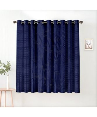 A Navy Blue Printed Polyester Window and Shower etc Curtain